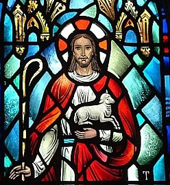 Stained glass image of the Good Shepherd